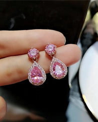 Cubic Zirconia Drop Earrings Pink