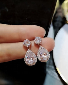 Cubic Zirconia Drop Earrings White