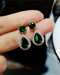 Cubic Zirconia Drop Earrings Green