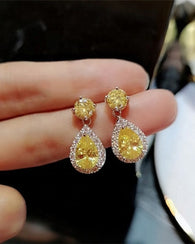 Cubic Zircon Drop Earrings Yellow