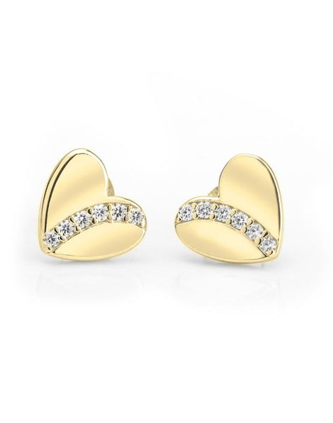 Cubic Zirconia Heart Stud Earrings - 24k Gold Plated