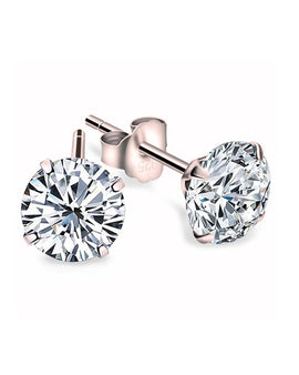 Cubic Zirconia Stud Earrings - Rose Gold Plated