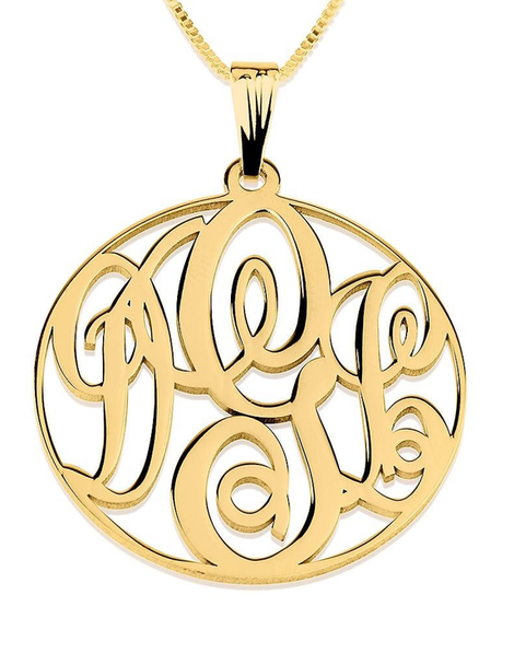 Circle Monogram Necklace 14k Gold