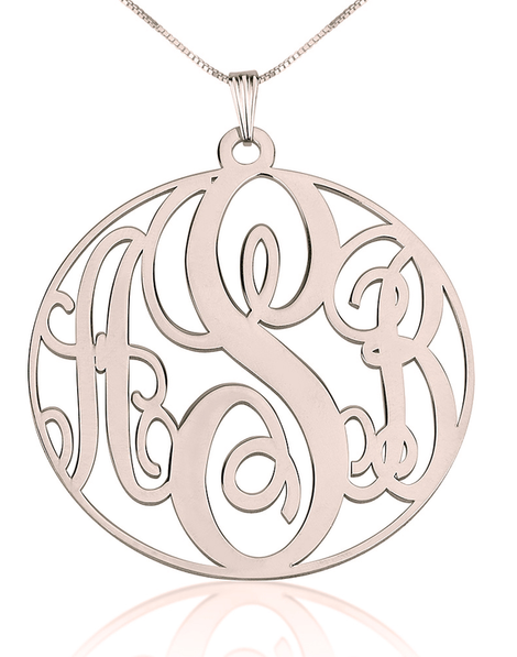 Circle Monogram Necklace Rose Gold Plated