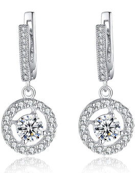 Cubic Zirconia Stone Earrings Silver