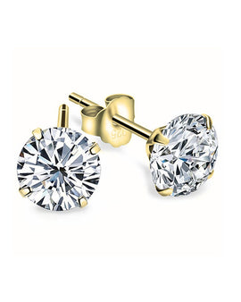 Cubic Zirconia Stud Earrings - 24k Gold Plated