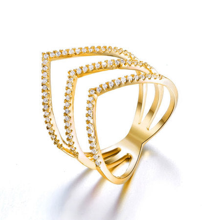 Cubic Zirconia Chevron Ring 24k Gold Plated
