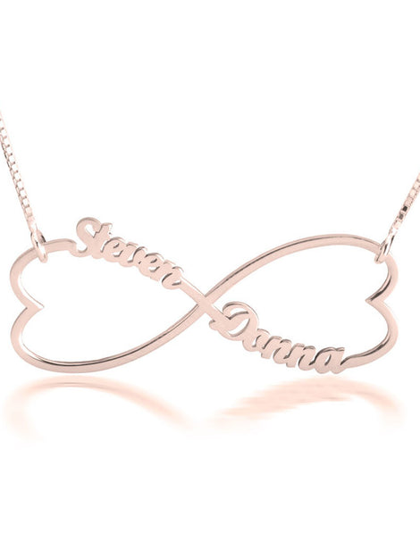 Double Heart Infinity Necklace - Rose Gold Plated
