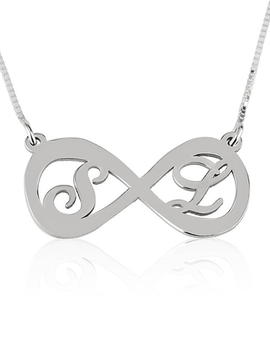 Two Letters Infinity Necklace Sterling Silver