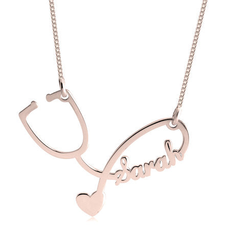 Stethoscope Necklace Rose Gold Plated