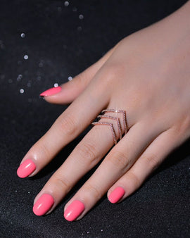 Cubic Zirconia Chevron Ring Rose Gold Plated