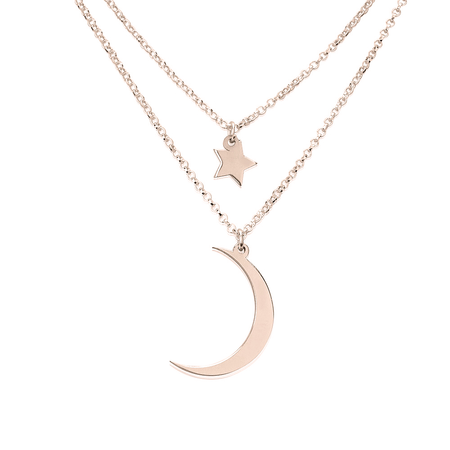 Crescent Moon and Star Necklace Rose Gold Plated