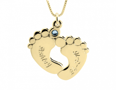 Engraved Baby Feet with Birthstones - 24k Gold Plated
