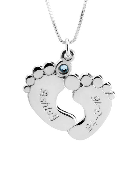 Engraved Baby Feet with Birthstone -Sterling Silver