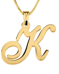 Initial Pendant Necklace 14k Gold