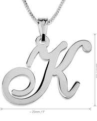 Initial Pendant Necklace 14k White Gold