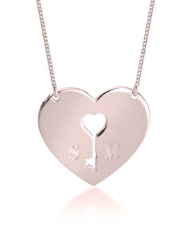Key To My Heart Necklace - Rose Gold Plating