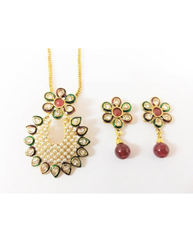 Kundan Pendant Set - KP008 - Indian Fashion Jewellery Online