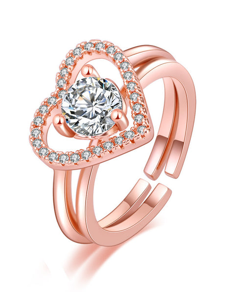 Love Open and Two in One Ring Rose Gold