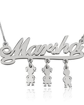 Mother Necklace with Kids - Sterling Silver