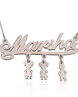 Mother Necklace with Kids Rose gold Plated
