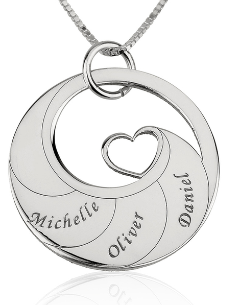 Mother's Heart Necklace with Engraved Names - Sterling Silver