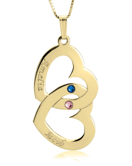 Personalised Double Heart Necklace - 24k Gold Plated