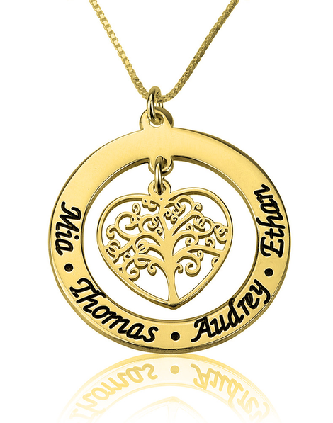 Personalised Family Tree Necklace - 24k Gold Plated