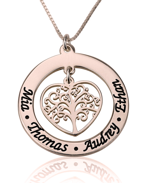 Personalised Family Tree Necklace Rose Gold