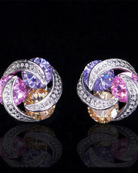Multicolour CZ Crystal Stud Earrings - Purple Pink Champagne
