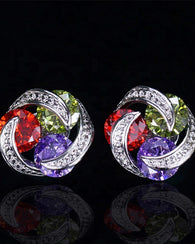 Multicolour CZ Crystal Stud Earrings - Red Green Purple