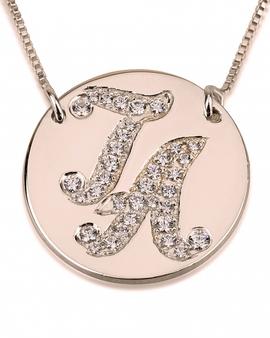 Initial Disc Necklace with Cubic Zirconia - Rose Gold Plated