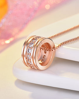 Round Single Row Pendant Clavicle Chain Rose Gold