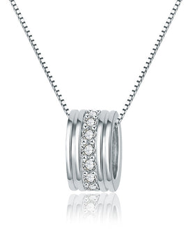 Round Single Row Pendant Clavicle Chain Silver