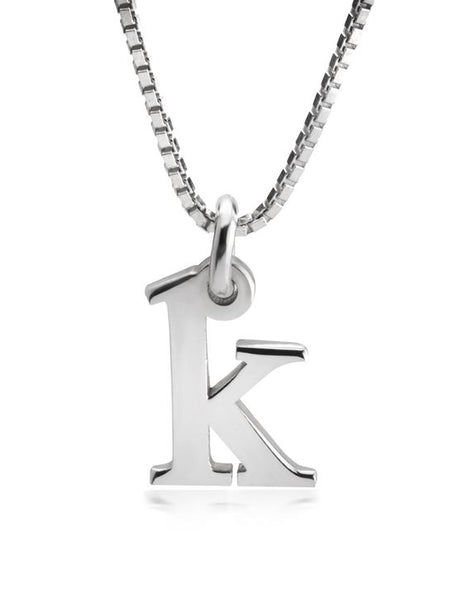 Small Initial Necklace - Sterling Silver