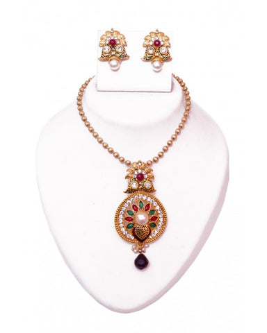 Traditional Pendant Set - RE115 - Indian Fashion Jewellery Online