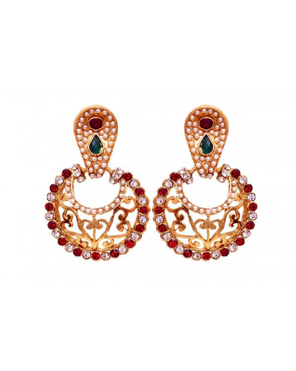 Multi Stone Earring - Indian Fashion Jewellery Online