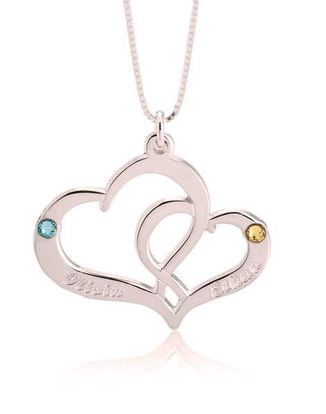 Two Heart Personalised Necklace - Rose Gold Plated