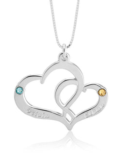 Two Heart Personalised Necklace - Sterling Silver