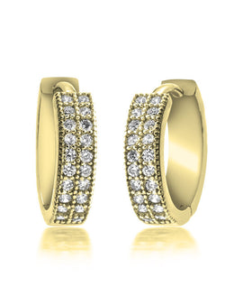Zirconia Hoop Earrings - 24k Gold Plated
