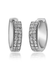 Zirconia Hoop Earrings - Sterling Silver