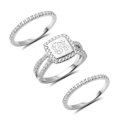 Custom Engraved Monogram Stackable Rings with Cubic Zirconia Stones