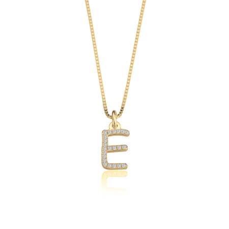 Cubic Zirconia Initial Necklace - 14k Gold