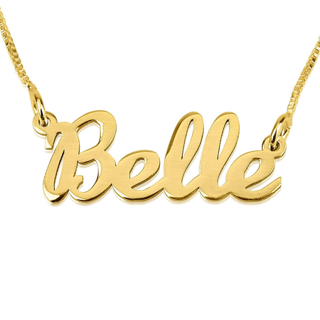 Cursive Name Necklace 14k Gold and 14k White Gold