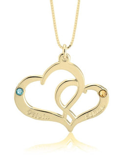 Two Heart Personalised Necklace - 24k Gold Plated