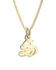 Old English Initial Necklace 14k Gold