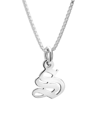 Old English Initial Necklace 14k White Gold