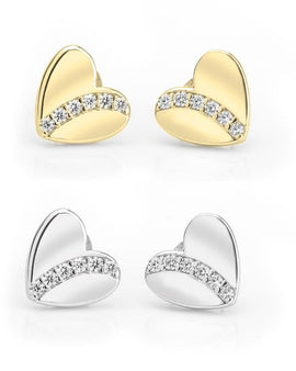 Cubic Zirconia Heart Stud Earrings - Sterling Silver