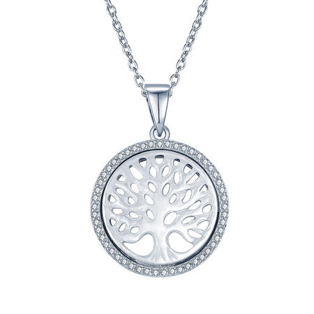 Family Tree Necklace with Cubic Zirconia