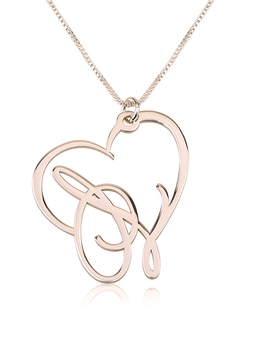 Script Initial Heart Necklace Rose Gold Plated